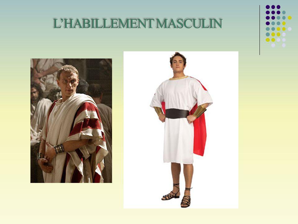 Parmi les vêtements, le Subligaculumo Licium, un pagne en lin noué à la taille.