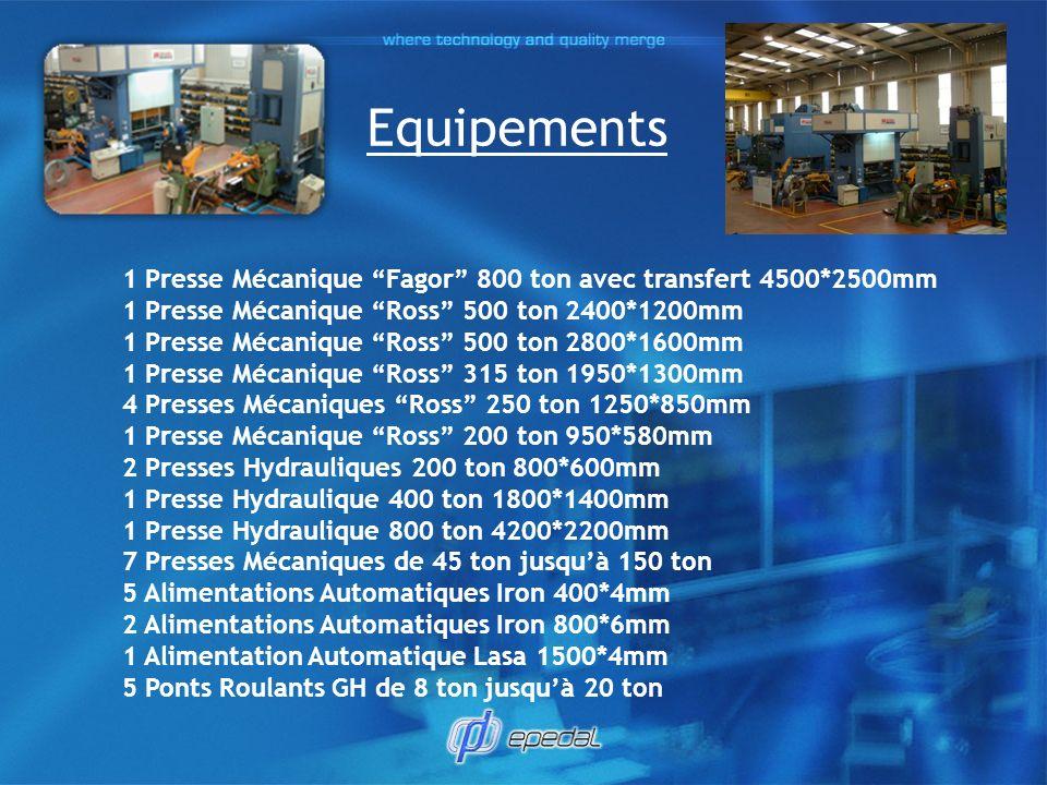 Equipements 1 Presse Mécanique Fagor 800 ton avec transfert 4500*2500mm 1 Presse Mécanique Ross 500 ton 2400*1200mm 1 Presse Mécanique Ross 500 ton 28