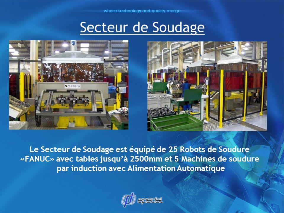 Secteur de Soudage Le Secteur de Soudage est équipé de 25 Robots de Soudure «FANUC» avec tables jusquà 2500mm et 5 Machines de soudure par induction a