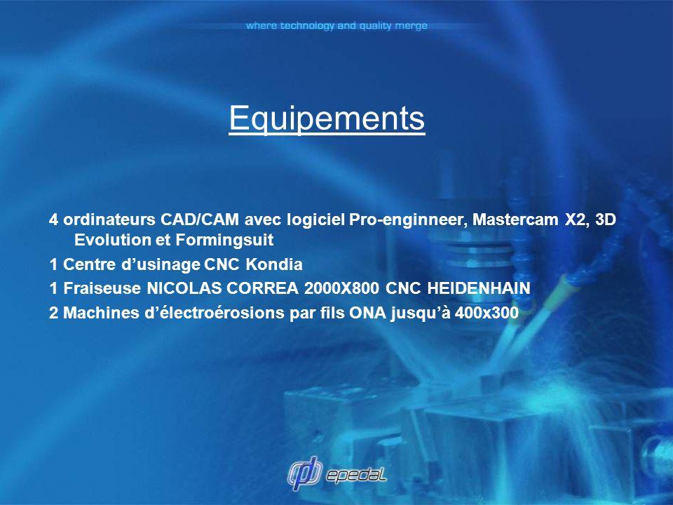 Equipements 4 ordinateurs CAD/CAM avec logiciel Pro-enginneer, Mastercam X2, 3D Evolution et Formingsuit 1 Centre dusinage CNC Kondia 1 Fraiseuse NICO