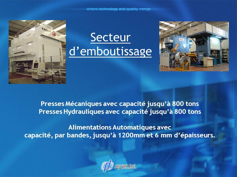 Secteur demboutissage Presses Mécaniques avec capacité jusquà 800 tons Presses Hydrauliques avec capacité jusquà 800 tons Alimentations Automatiques a