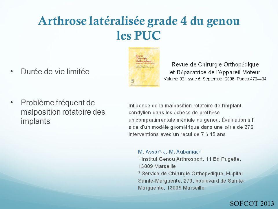 Arthrose latéralisée grade 4 du genou les PUC Durée de vie limitée Problème fréquent de malposition rotatoire des implants SOFCOT 2013