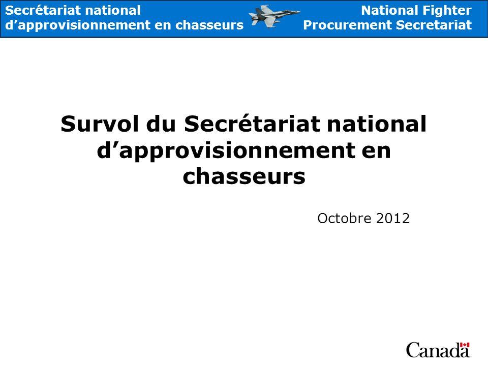 National Fighter Procurement Secretariat Secrétariat national dapprovisionnement en chasseurs Survol du Secrétariat national dapprovisionnement en cha