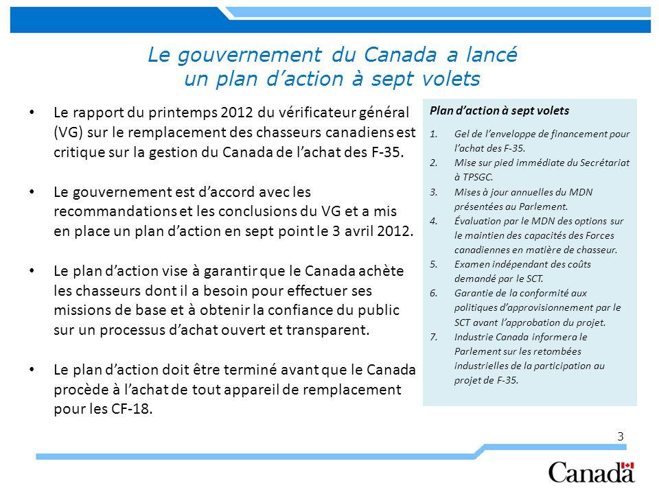 3 Le gouvernement du Canada a lancé un plan daction à sept volets Le rapport du printemps 2012 du vérificateur général (VG) sur le remplacement des chasseurs canadiens est critique sur la gestion du Canada de lachat des F-35.
