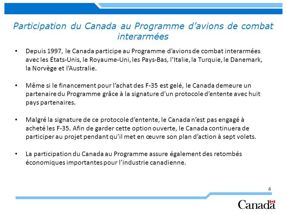 4 Participation du Canada au Programme davions de combat interarmées Depuis 1997, le Canada participe au Programme davions de combat interarmées avec les États-Unis, le Royaume-Uni, les Pays-Bas, lItalie, la Turquie, le Danemark, la Norvège et lAustralie.