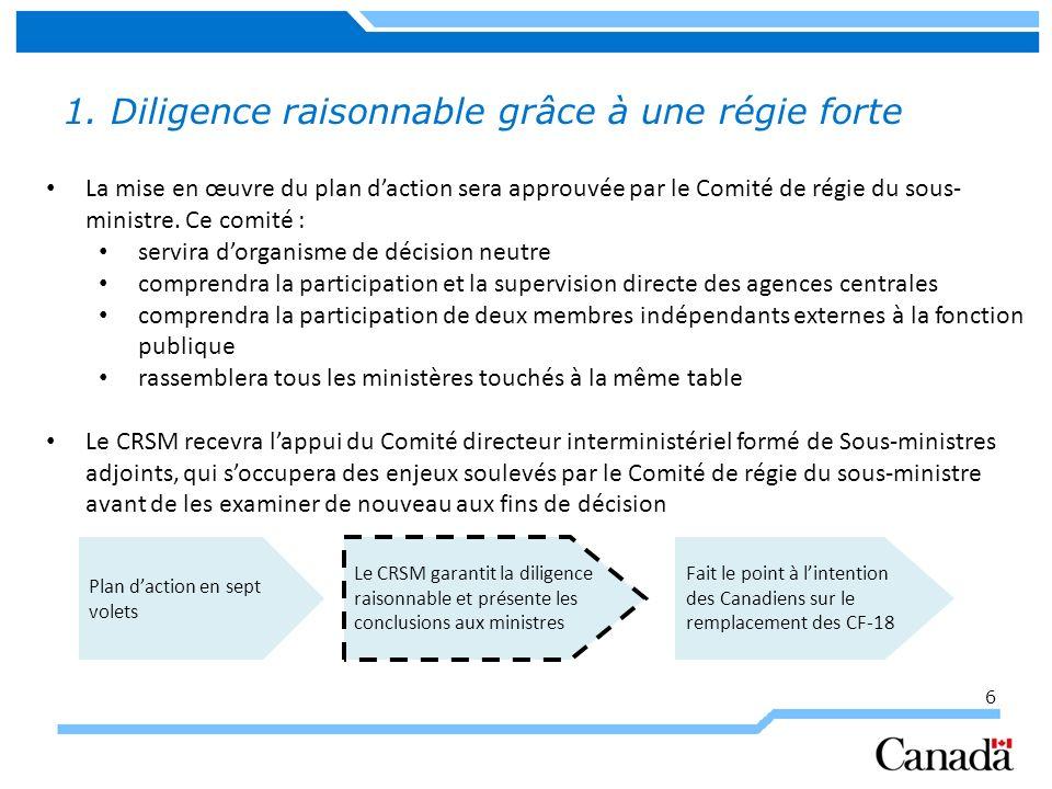 6 1. Diligence raisonnable grâce à une régie forte La mise en œuvre du plan daction sera approuvée par le Comité de régie du sous- ministre. Ce comité