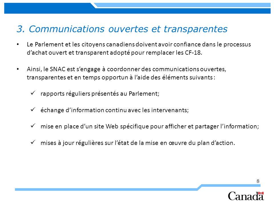 8 3. Communications ouvertes et transparentes Le Parlement et les citoyens canadiens doivent avoir confiance dans le processus dachat ouvert et transp