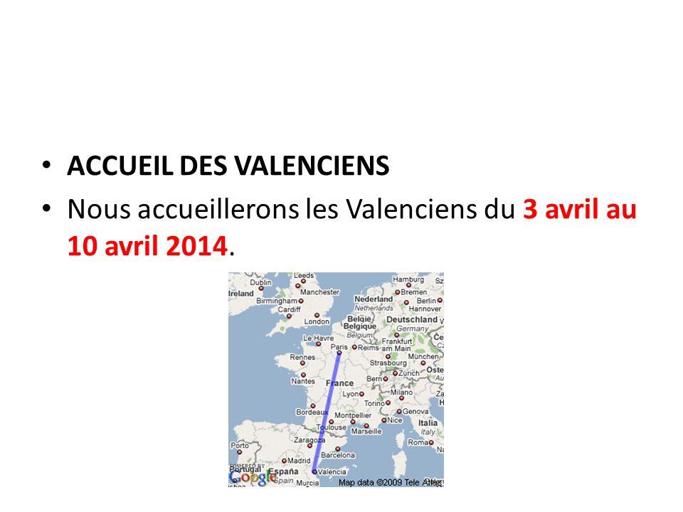 ACCUEIL DES VALENCIENS Nous accueillerons les Valenciens du 3 avril au 10 avril 2014.