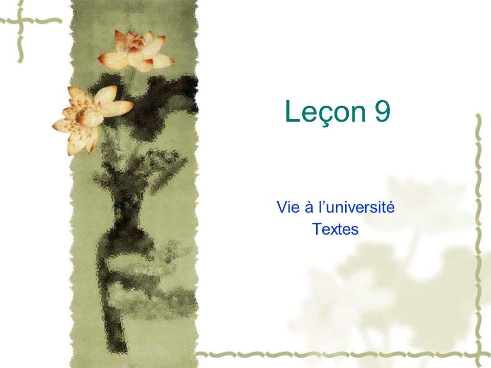 Leçon 9 Vie à luniversité Textes