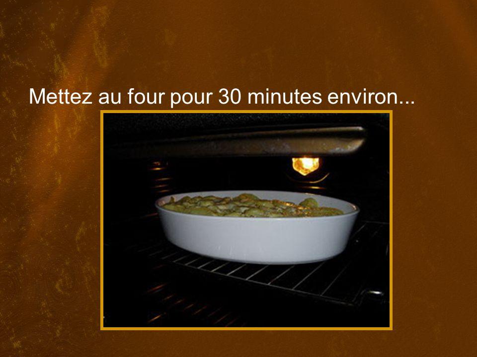 Mettez au four pour 30 minutes environ...