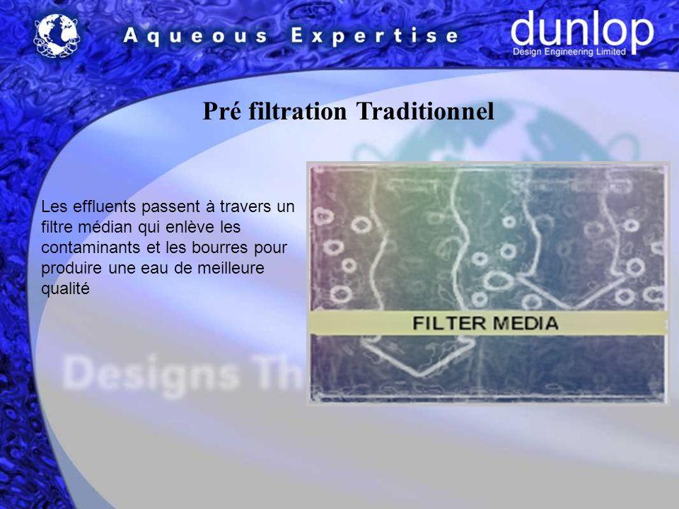 Pré filtration Traditionnel Les effluents passent à travers un filtre médian qui enlève les contaminants et les bourres pour produire une eau de meilleure qualité