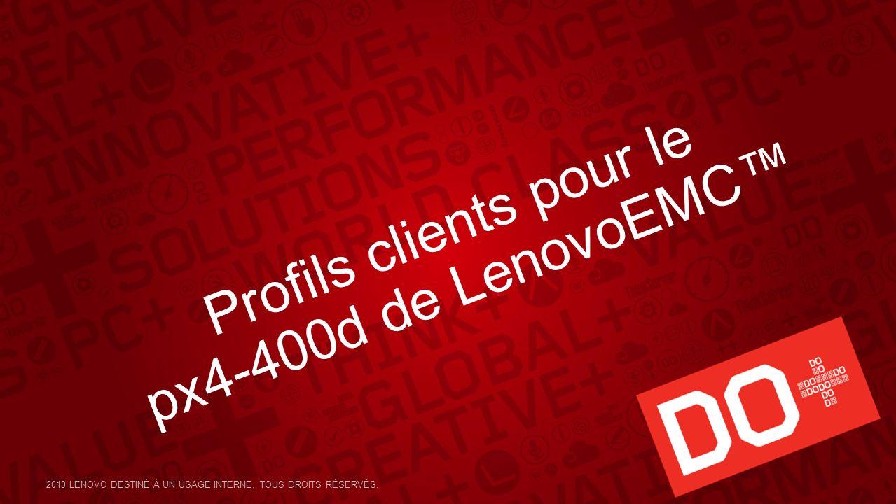 Profils clients pour le px4-400d de LenovoEMC 2013 LENOVO DESTINÉ À UN USAGE INTERNE. TOUS DROITS RÉSERVÉS.