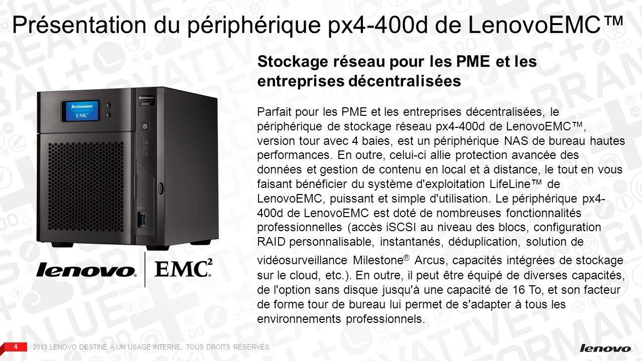 44 Sauvegarde serveur Sauvegarde PC Sauvegarde NAS Présentation du périphérique px4-400d de LenovoEMC Stockage réseau pour les PME et les entreprises