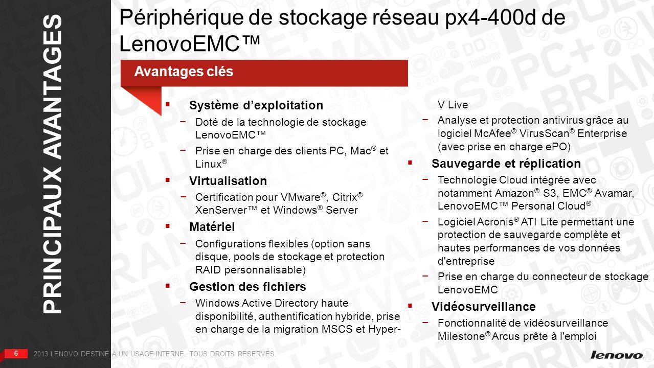 6 PRINCIPAUX AVANTAGES 6 2013 LENOVO DESTINÉ À UN USAGE INTERNE. TOUS DROITS RÉSERVÉS. Périphérique de stockage réseau px4-400d de LenovoEMC Avantages