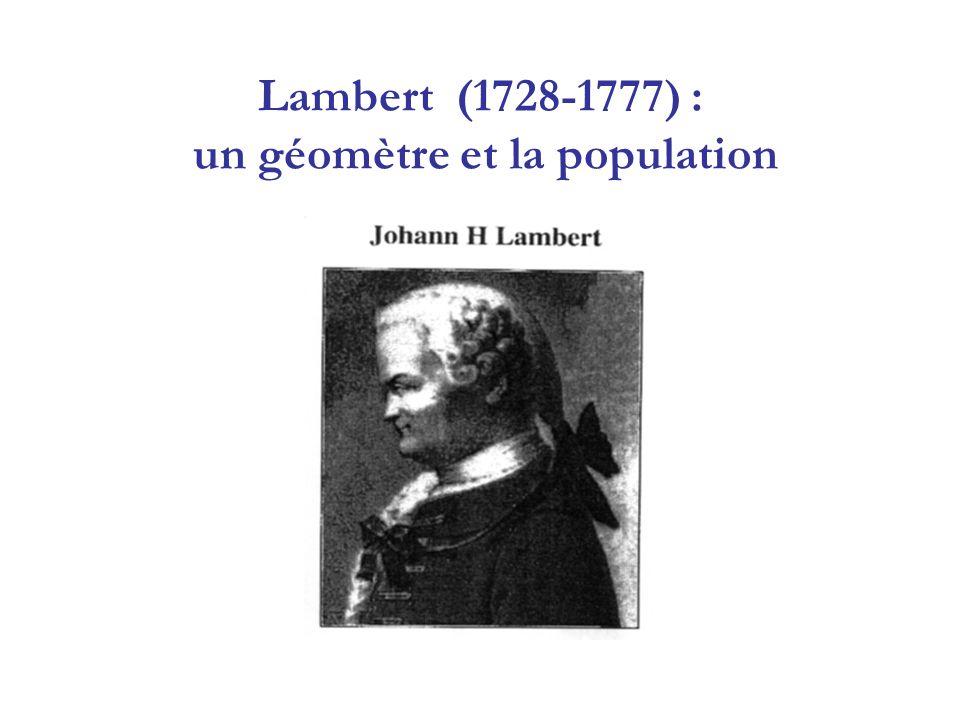 Lambert (1728-1777) : un géomètre et la population