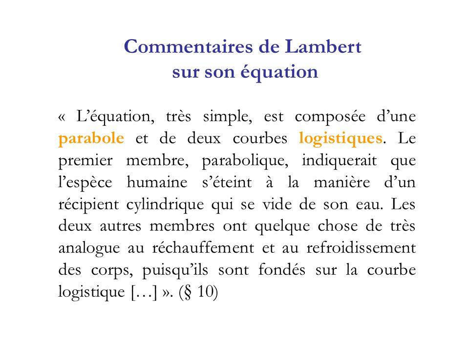 « Léquation, très simple, est composée dune parabole et de deux courbes logistiques. Le premier membre, parabolique, indiquerait que lespèce humaine s