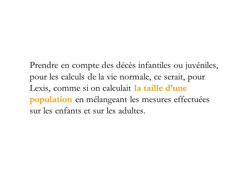 Prendre en compte des décès infantiles ou juvéniles, pour les calculs de la vie normale, ce serait, pour Lexis, comme si on calculait la taille dune p