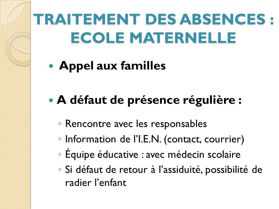 Appel aux familles A défaut de présence régulière : Rencontre avec les responsables Information de lI.E.N.