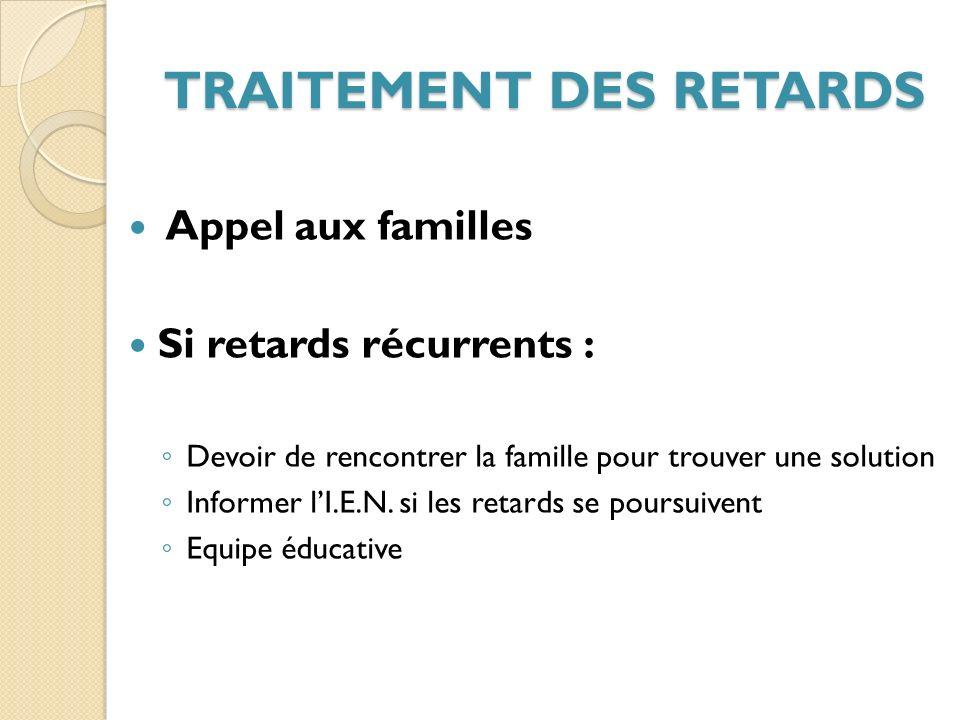 TRAITEMENT DES RETARDS Appel aux familles Si retards récurrents : Devoir de rencontrer la famille pour trouver une solution Informer lI.E.N.