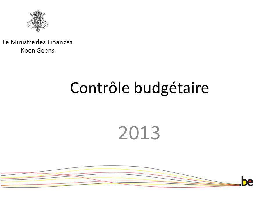 Contrôle budgétaire 2013 Le Ministre des Finances Koen Geens