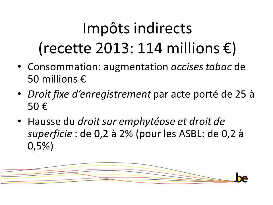 Impôts indirects (recette 2013: 114 millions ) Consommation: augmentation accises tabac de 50 millions Droit fixe denregistrement par acte porté de 25 à 50 Hausse du droit sur emphytéose et droit de superficie : de 0,2 à 2% (pour les ASBL: de 0,2 à 0,5%)