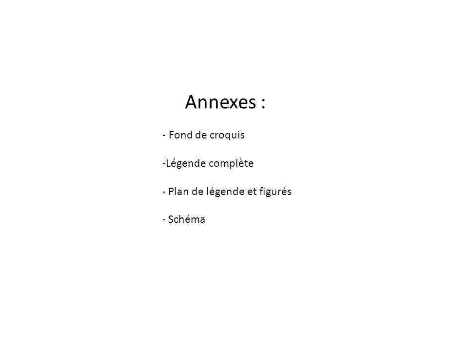 Annexes : - Fond de croquis -Légende complète - Plan de légende et figurés - Schéma
