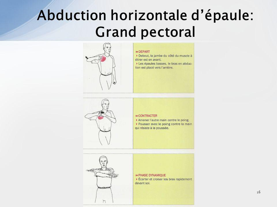 16 Abduction horizontale dépaule: Grand pectoral