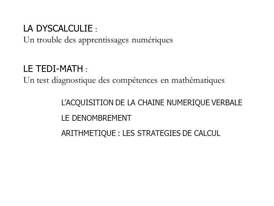 La dyscalculie = Trouble négligé (Butterworth, 2005) La dyscalculie développementale = Trouble sévère des apprentissages numériques sans atteinte organique ou déficience mentale identifiée Acalculie Années 40 : Dyscalculie (Gerstmann) Années 60: Dyscalculie développementale (Kosc) pathologie statique = Difficultés en arithmétique, en mathématiques = Troubles des apprentissages en arithmétique (Geary)