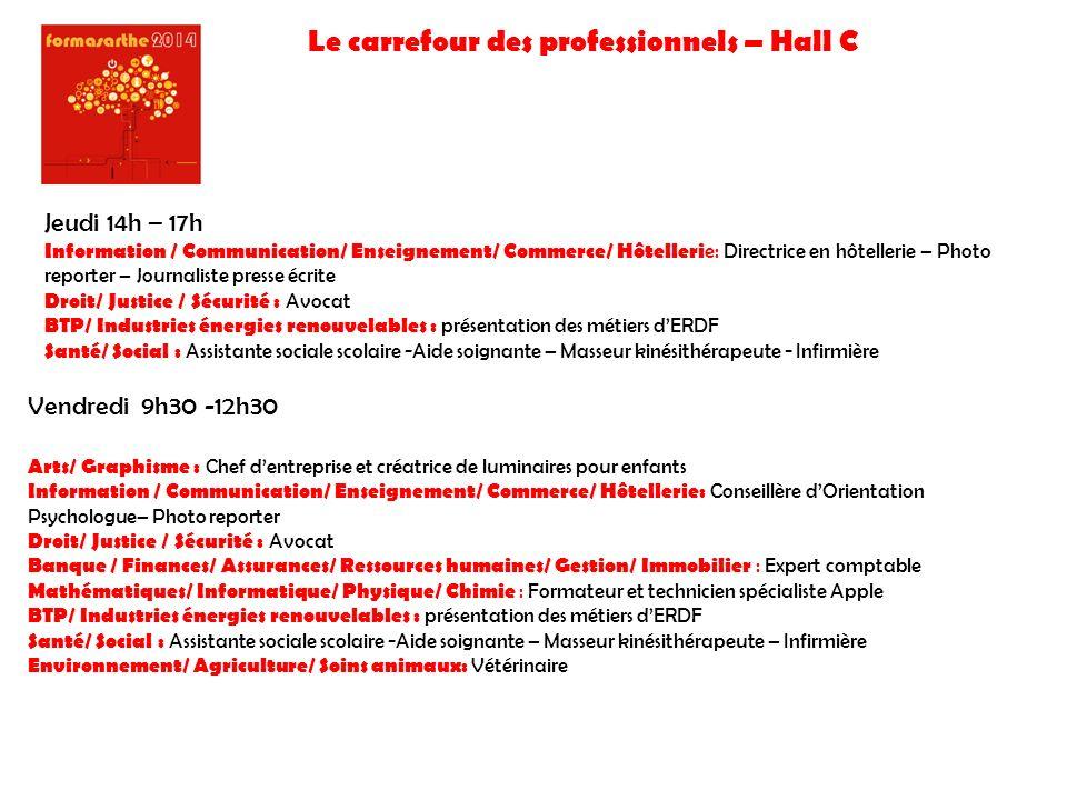 Le carrefour des professionnels – Hall C Jeudi 14h – 17h Information / Communication/ Enseignement/ Commerce/ Hôtelleri e: Directrice en hôtellerie –