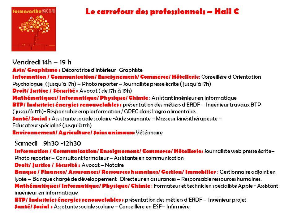 Le carrefour des professionnels – Hall C Vendredi 14h – 19 h Arts/ Graphisme : Décoratrice dintérieur -Graphiste Information / Communication/ Enseigne