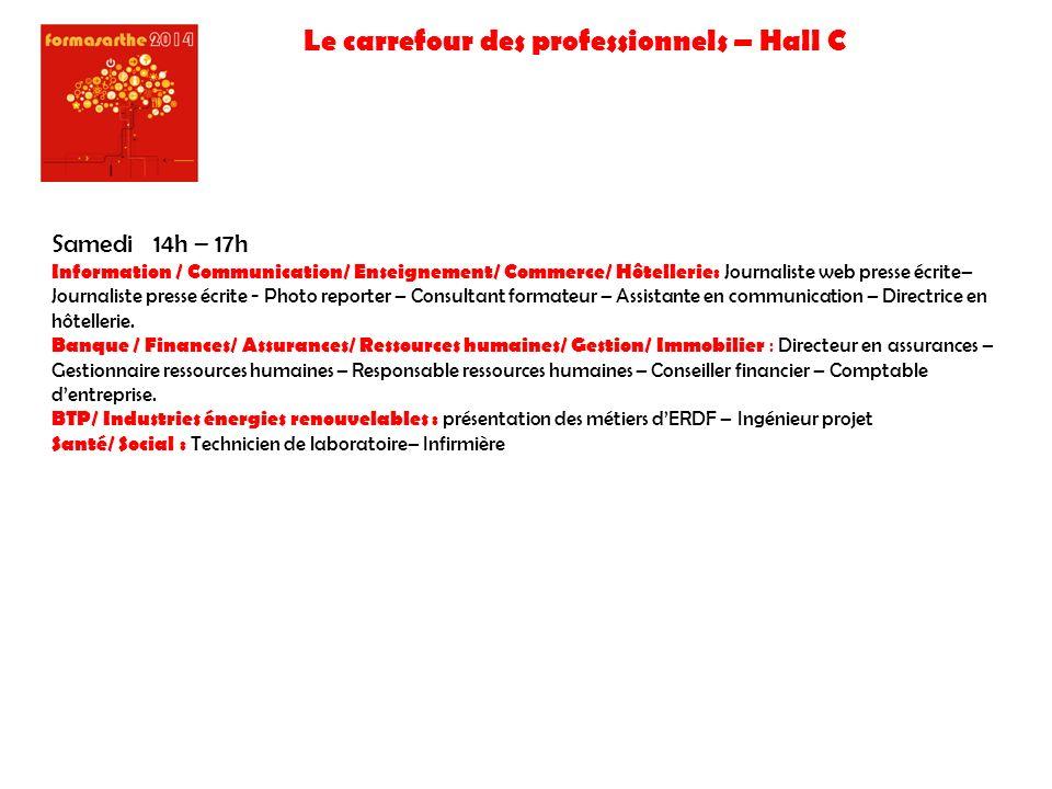 Le carrefour des professionnels – Hall C Samedi 14h – 17h Information / Communication/ Enseignement/ Commerce/ Hôtellerie: Journaliste web presse écri