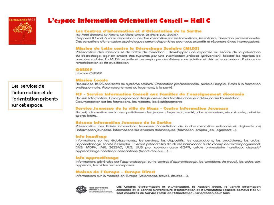 Lespace Information Orientation Conseil – Hall C Les services de linformation et de lorientation présents sur cet espace.