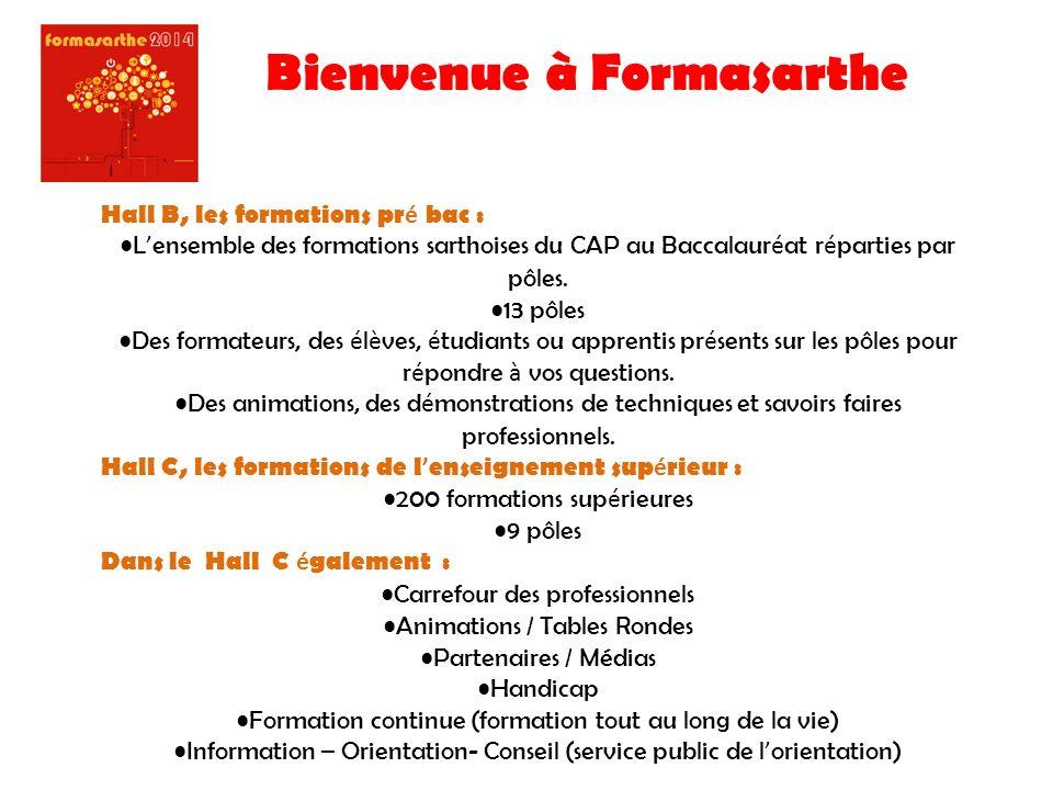 Bienvenue à Formasarthe Hall B, les formations pr é bac : L ensemble des formations sarthoises du CAP au Baccalaur é at r é parties par pôles.