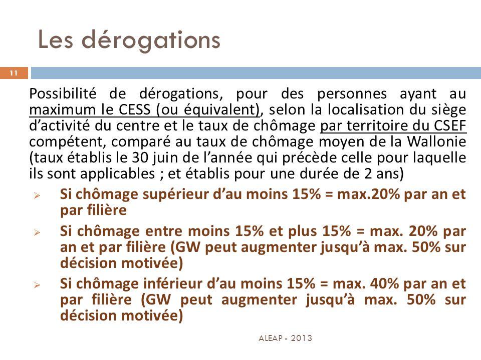 Les dérogations 11 Possibilité de dérogations, pour des personnes ayant au maximum le CESS (ou équivalent), selon la localisation du siège dactivité d
