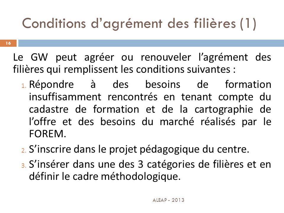 Conditions dagrément des filières (1) 16 Le GW peut agréer ou renouveler lagrément des filières qui remplissent les conditions suivantes : 1. Répondre