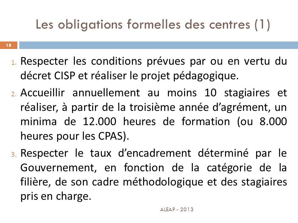 Les obligations formelles des centres (1) 18 1. Respecter les conditions prévues par ou en vertu du décret CISP et réaliser le projet pédagogique. 2.