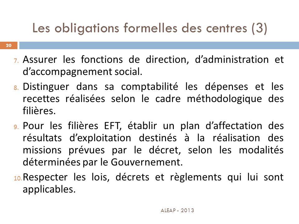 Les obligations formelles des centres (3) 20 7. Assurer les fonctions de direction, dadministration et daccompagnement social. 8. Distinguer dans sa c