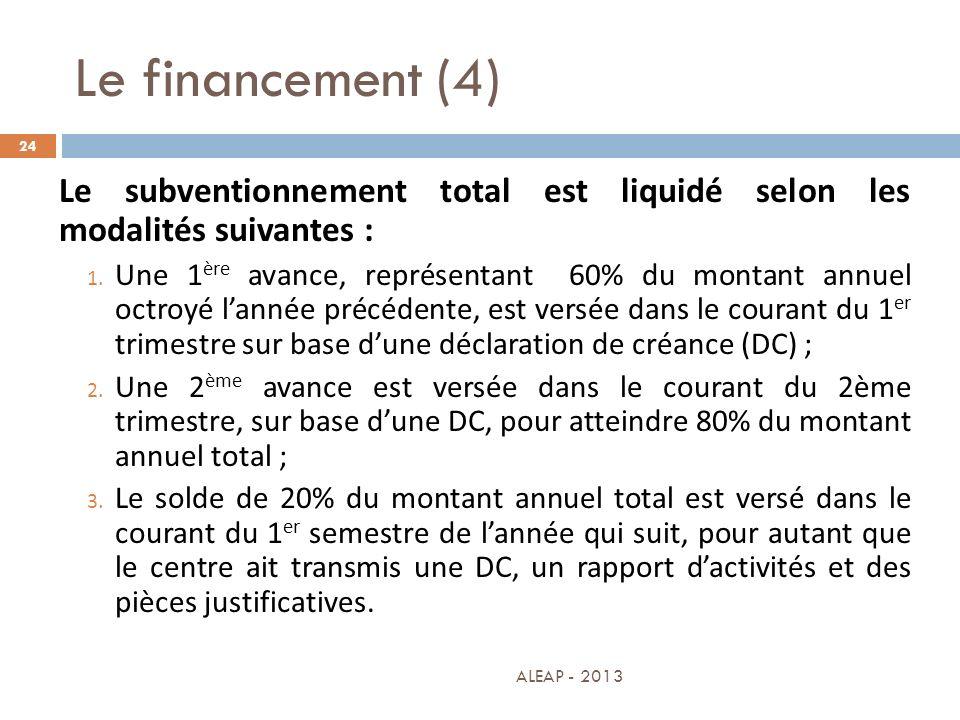 Le financement (4) 24 Le subventionnement total est liquidé selon les modalités suivantes : 1. Une 1 ère avance, représentant 60% du montant annuel oc