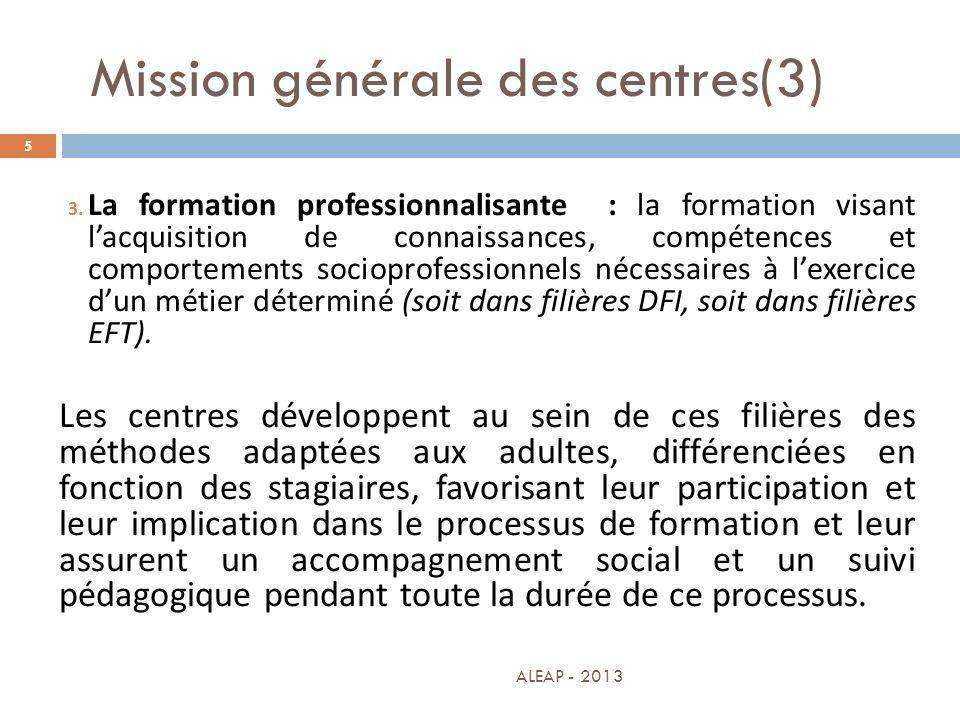 Mission générale des centres(3) 5 3. La formation professionnalisante : la formation visant lacquisition de connaissances, compétences et comportement