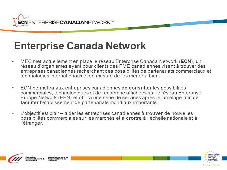 MEC met actuellement en place le réseau Enterprise Canada Network (ECN), un réseau dorganismes ayant pour clients des PME canadiennes visant à trouver