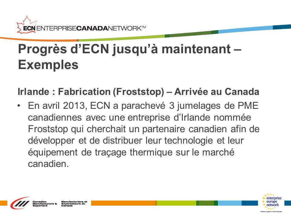 Irlande : Fabrication (Froststop) – Arrivée au Canada En avril 2013, ECN a parachevé 3 jumelages de PME canadiennes avec une entreprise dIrlande nommé