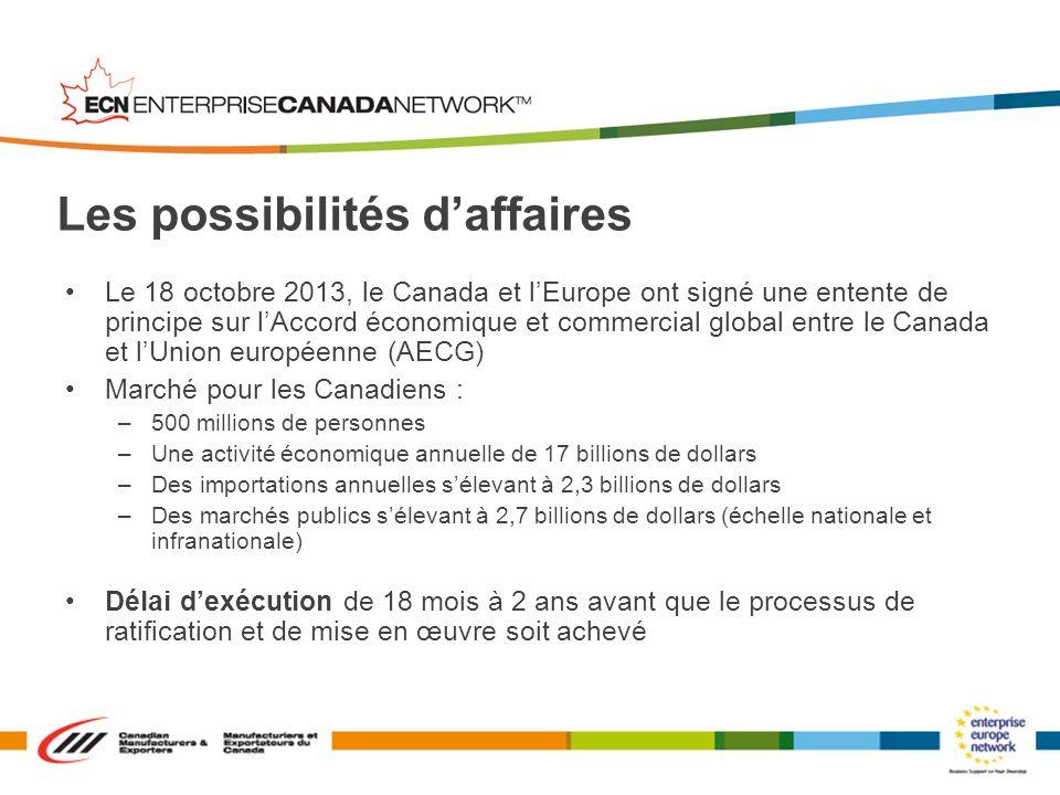 Le 18 octobre 2013, le Canada et lEurope ont signé une entente de principe sur lAccord économique et commercial global entre le Canada et lUnion europ
