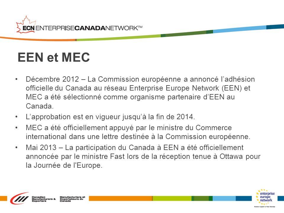 Décembre 2012 – La Commission européenne a annoncé ladhésion officielle du Canada au réseau Enterprise Europe Network (EEN) et MEC a été sélectionné c