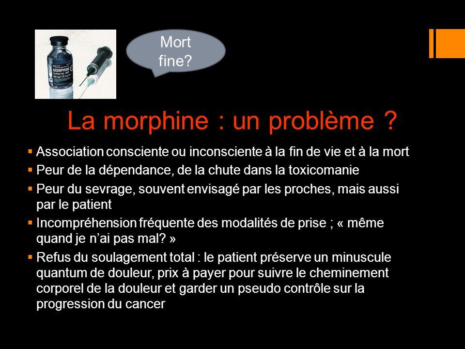 La morphine : un problème ? Association consciente ou inconsciente à la fin de vie et à la mort Peur de la dépendance, de la chute dans la toxicomanie