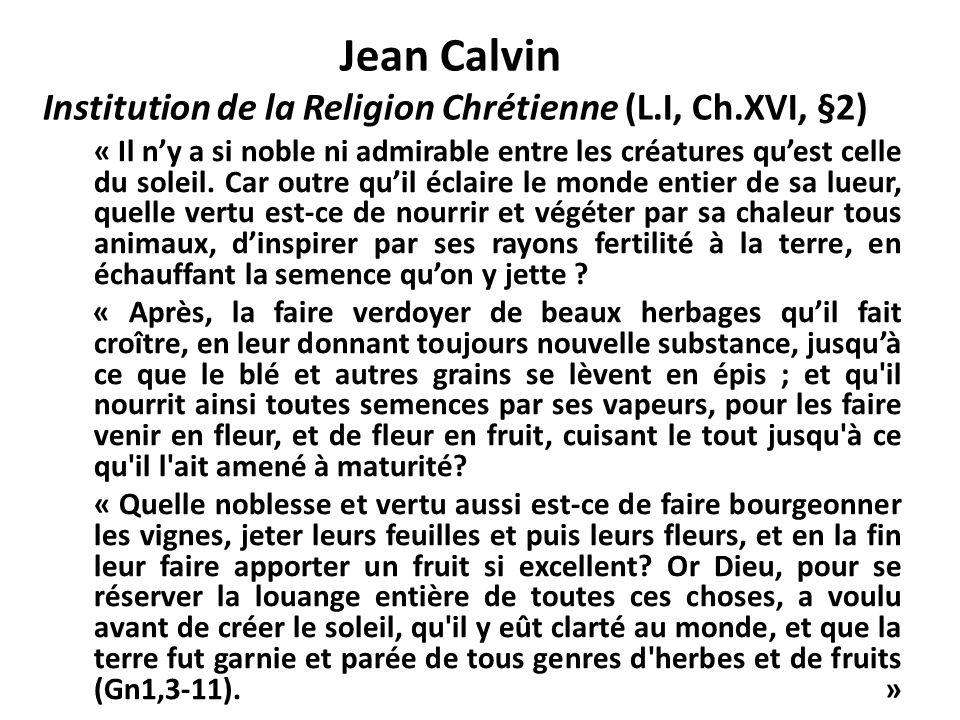 Jean Calvin « Adam sest vu confier la surveillance du jardin pour nous montrer que nous pouvons posséder ce que Dieu nous donne, à condition den faire un usage mesuré et modéré et de prendre soin du surplus.
