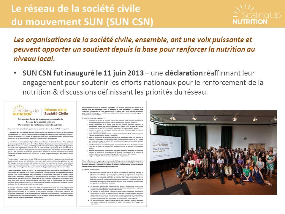 Le réseau de la société civile du mouvement SUN (SUN CSN) Les organisations de la société civile, ensemble, ont une voix puissante et peuvent apporter un soutient depuis la base pour renforcer la nutrition au niveau local.