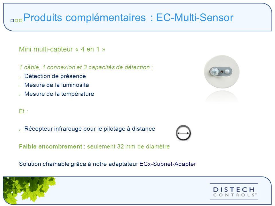 Produits complémentaires : EC-Multi-Sensor Mini multi-capteur « 4 en 1 » 1 câble, 1 connexion et 3 capacités de détection : Détection de présence Mesu