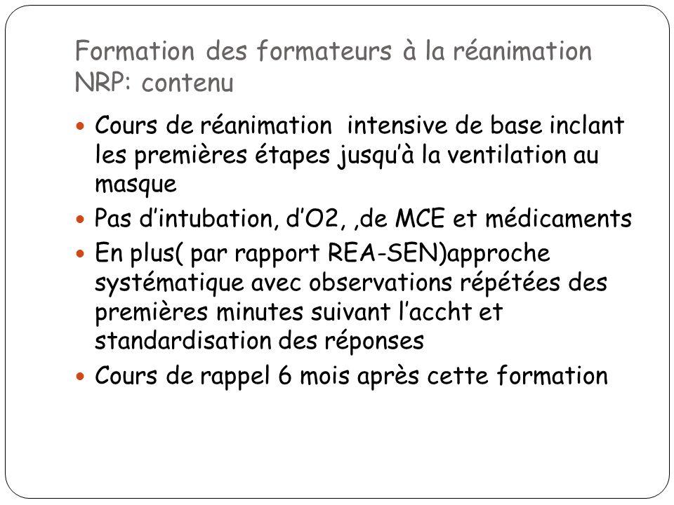 Formation des formateurs à la réanimation NRP: contenu Cours de réanimation intensive de base inclant les premières étapes jusquà la ventilation au ma