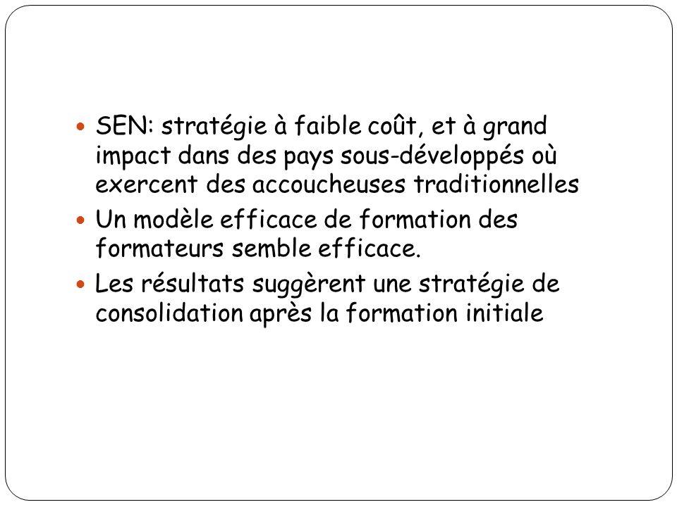 SEN: stratégie à faible coût, et à grand impact dans des pays sous-développés où exercent des accoucheuses traditionnelles Un modèle efficace de forma