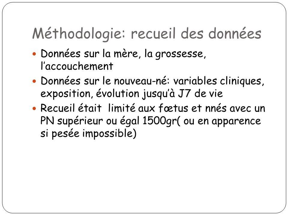 Méthodologie: recueil des données Données sur la mère, la grossesse, laccouchement Données sur le nouveau-né: variables cliniques, exposition, évoluti